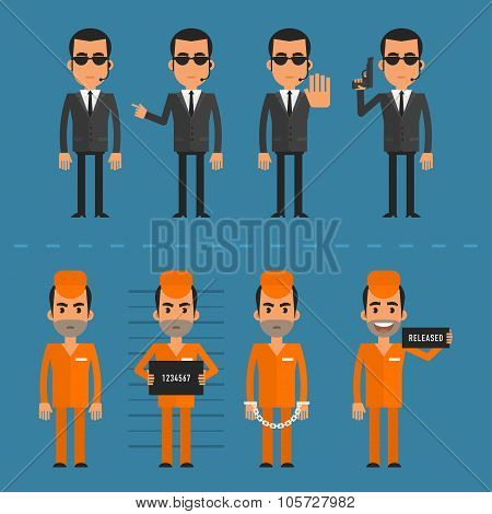 Prisoners and bodyguard in various poses
