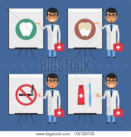 Stomatologist indicates on flip chart