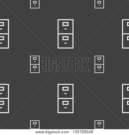 Safe Sign Icon. Deposit Lock Symbol. Seamless Pattern On A Gray Background. Vector