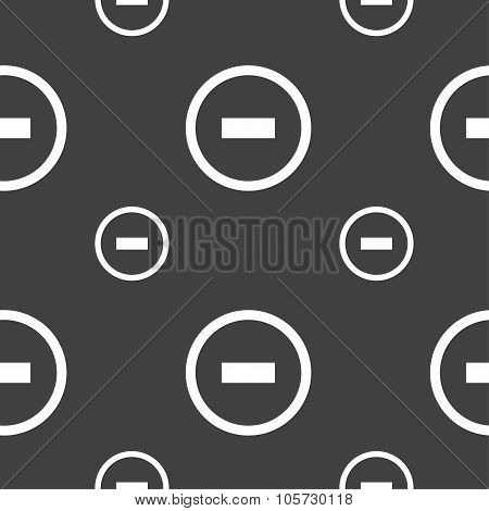 Minus Sign Icon. Negative Symbol. Zoom Out. Seamless Pattern On A Gray Background. Vector
