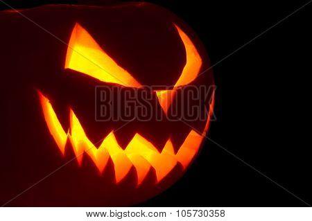 Scary Face Of Jack O Lantern Isolated On Black