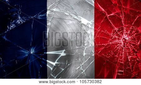 Flag of France, French Flag painted on broken glass texture