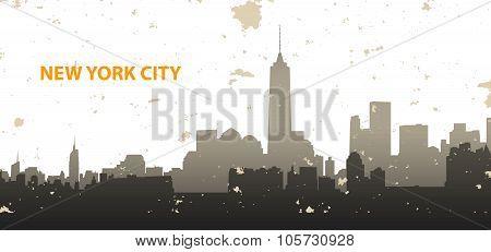 New York Cityscape On Grunge Background