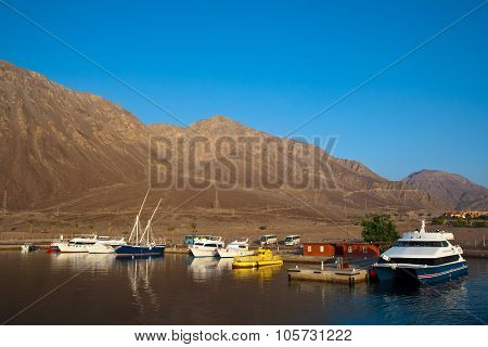 Boats And Yachts Are In The Harbor. Taba, Egypt