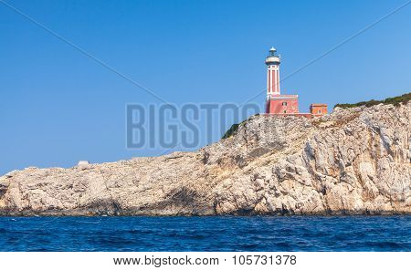 Punta Carena. Red Lighthouse Tower, Capri