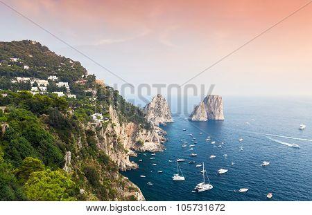 Capri, Italy. Mediterranean Sea Coastal Landscape