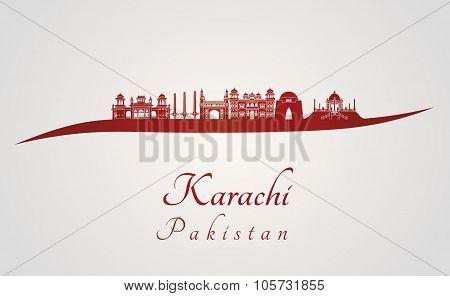 Karachi Skyline In Red