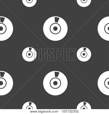 Cd Or Dvd Icon Sign. Seamless Pattern On A Gray Background. Vector