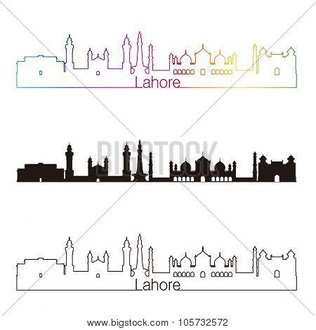 Lahore Skyline Linear Style With Rainbow