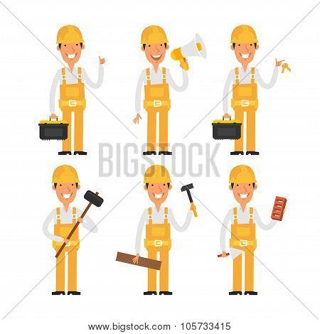 Builder in various poses part 2