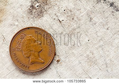 One Penny On Canvas Background
