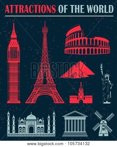 Set Of Icons Of Travel And Landmarks