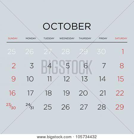 Calendar Vector Template 2016. October.