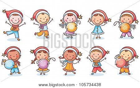 Set Of Happy Cartoon Kids In Santa Hats And With Christmas Ornaments