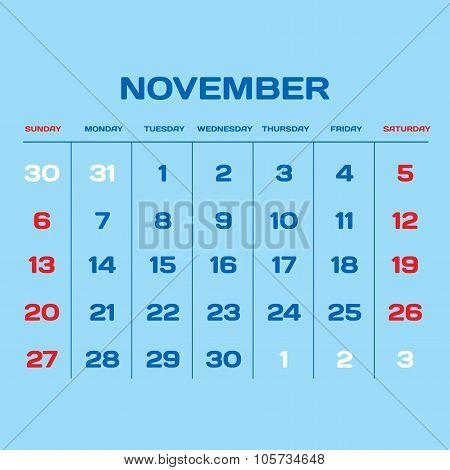 Calendar Vector Template 2016. November.