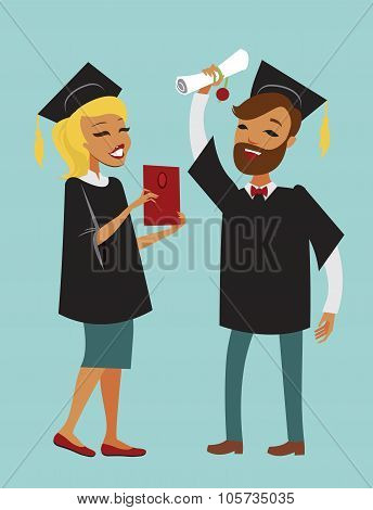 Two Happy Graduating Students