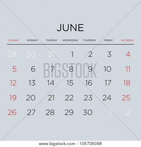 Calendar Vector Template 2016. June