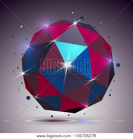 Technology Spherical Polished Object With Lines Mesh. 3D Colorful Shiny Complicated Engineering Stru
