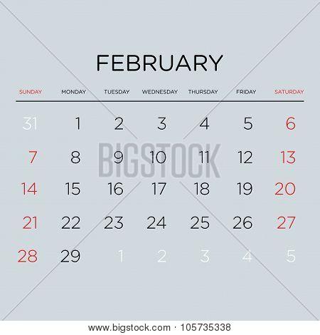 Calendar Vector Template 2016. February.
