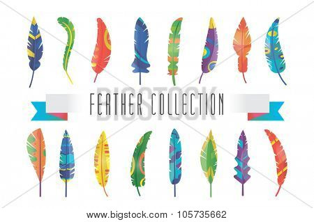 Feathers vector silhouette set. Feather vector illustration. Colorful vector feathers. Pattern textured feather. Feather isolated on white background. Feather vector illustration set. Feather icons