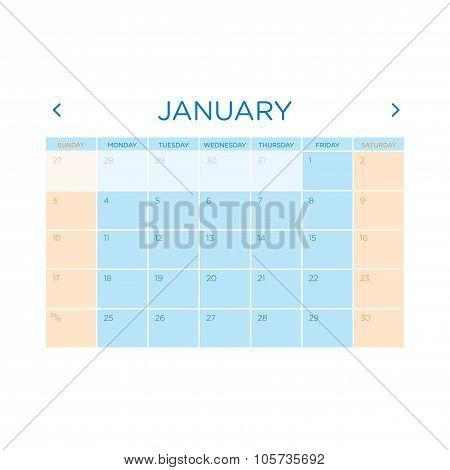 Calendar Vector Template 2016. January.