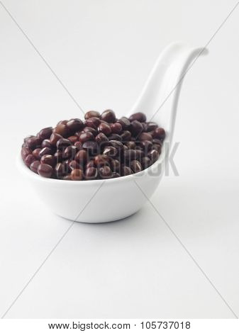 adzuki bean in a white saucer