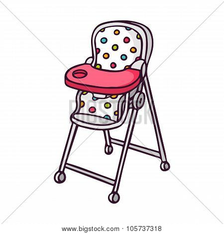 Baby Feeding Chair, Bright Vector Children Illustration Isolated On White
