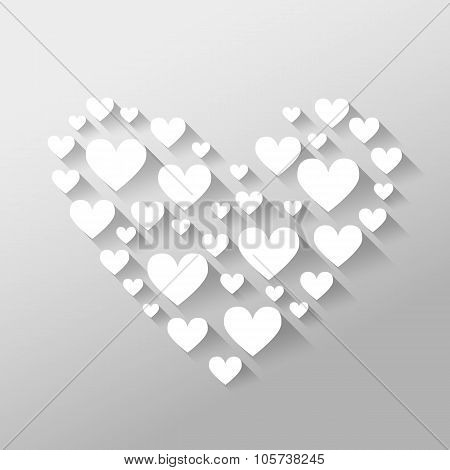 Romantic Abstract Valentine's Day Illustration With Hearts With Long Shadows On Light Gray Backgroun