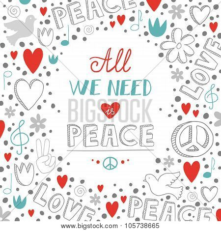 Vector Doodle White Love And Peace Theme Background With Quote About Peace