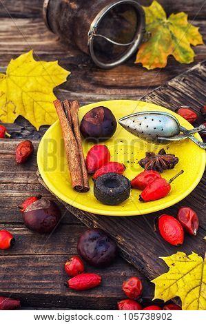 Tea Accessories On  Yellow Saucer