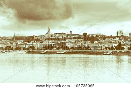 View  Buda Side Of Budapest. Vintage Style