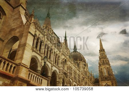 Hungarian Parliament Building By Danube River.