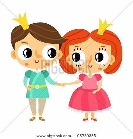 Cartoon Prince And Princess Holding Hands, Cute Vector Characters, Isolated On White