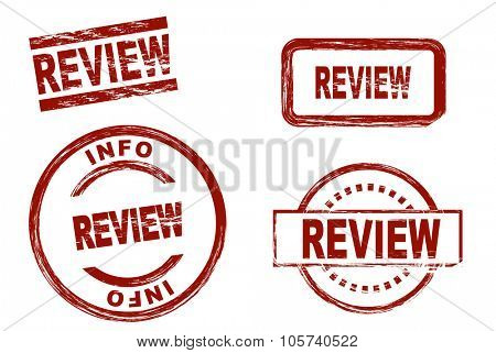 Set of stylized red stamps showing the term review. All on white background.
