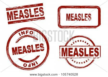 Set of stylized red stamps showing the term measles. All on white background.