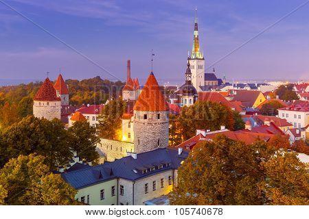 Aerial view old town in the twilight, Tallinn, Estonia