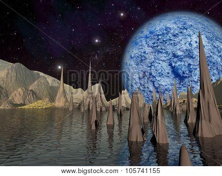 Alien Planet Sci-fi Scene. Artist's Rendition.