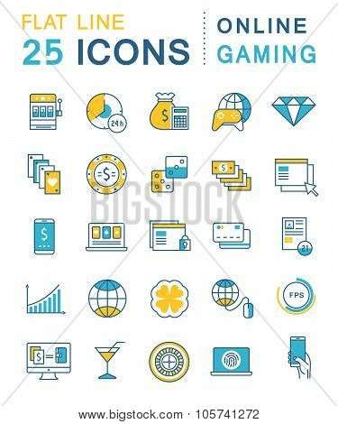 Set Vector Flat Line Icons Online Gaming
