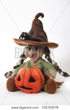 Witch With Pumpkin- A Toy As A Gift For Halloween