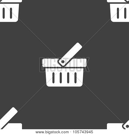 Shopping Cart Sign Icon. Online Buying Button. Seamless Pattern On A Gray Background. Vector