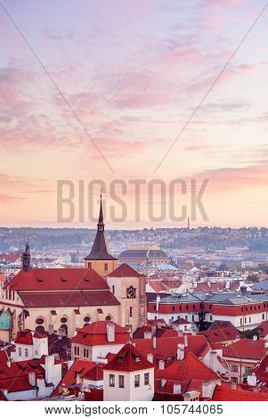 Top view to red roofs skyline of Prague city Czech republic. Illustration