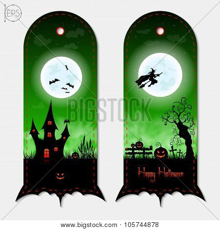 Halloween creepy green vertical banners labels set. Vector illustration.