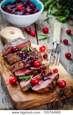 Beef Meat With Homemade Cranberry Sauce