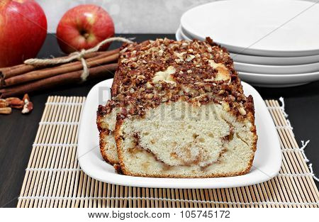 Pecan, Apple And Cinnamon Loaf Cake, Close Up.