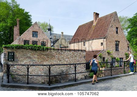 Bruges, Belgium - May 11, 2015: People Around The Beguinage (begijnhof) In Bruges