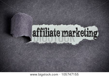 Affiliate Marketing Word Under Torn Black Sugar Paper