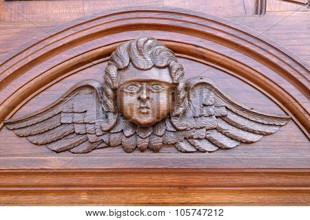 PAKRAC, CROATIA - MAY 07: Angel, door of the Church of the Assumption of the Blessed Virgin Mary in Pakrac, Croatia on May 07, 2015