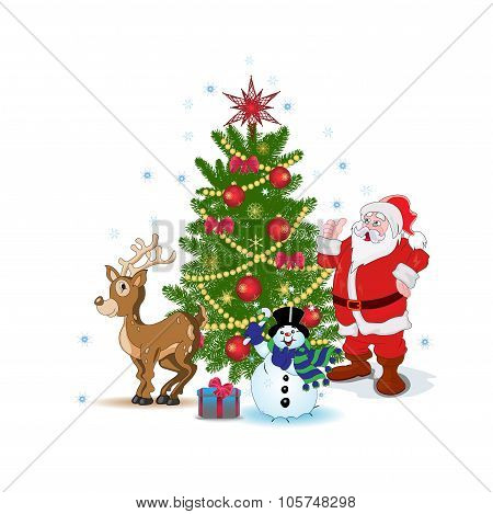 Santa Claus, snowman, Christmas tree, deer, vector illustration