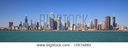 Chicago city skyline panoramic