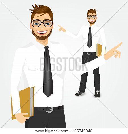 modern hipster businessman showing something